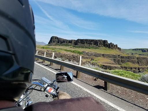 Motorcycle riding at Horsethief Butte, Wa state.