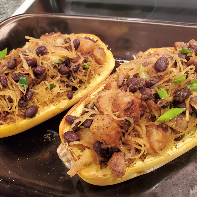 When you fill up the squash shells you will have some left in the pan for seconds.
