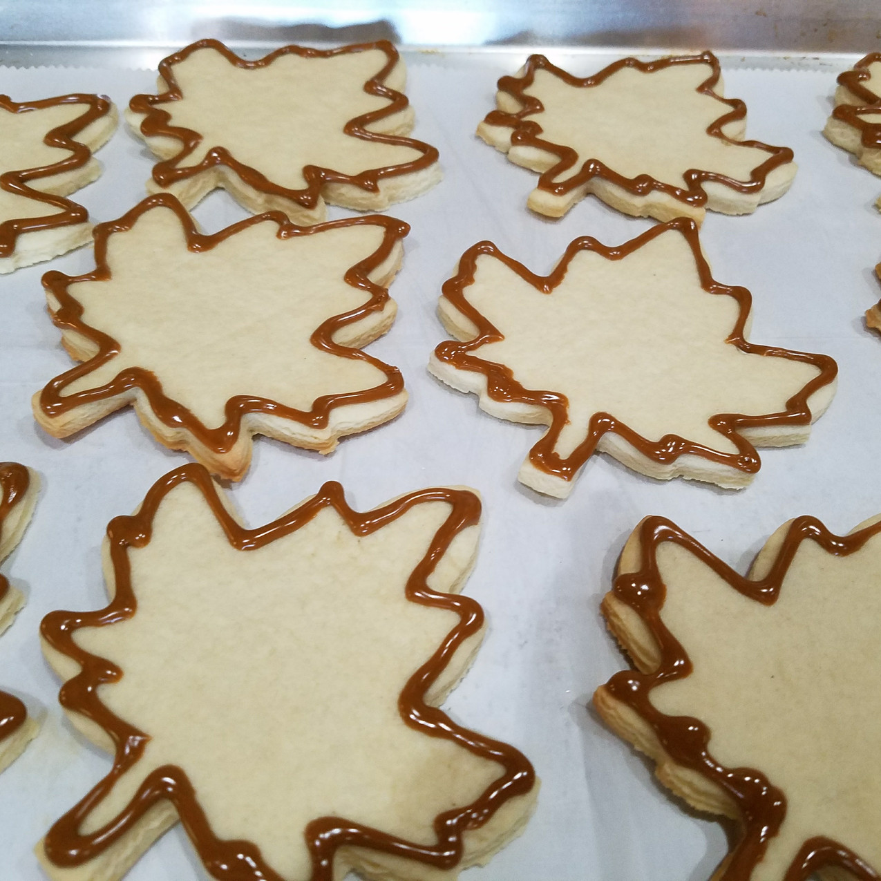 Piped Maple Leaf Cookies