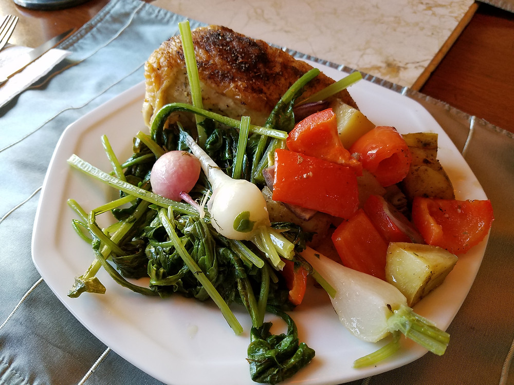 Chicken Vegetable Roast with Butter Braised Radishes and Greens
