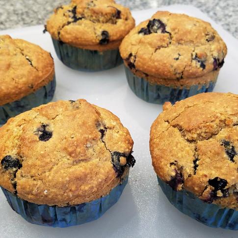Jumbo Blueberry Sourdough Breakfast Muffins