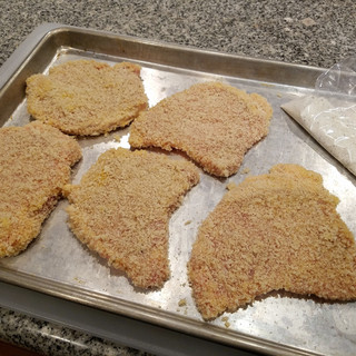 Save any unused seasoned flour or panko in a zip lock baggie in the freezer until you need some for another dish.