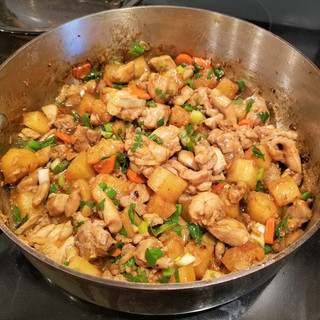 Add the sauce and stir-fry until boiling and the sauce has thickened.