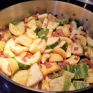 Saute the veggies on medium high until softened.