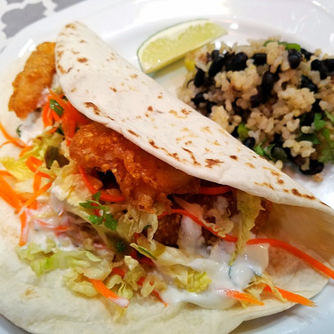 Crispy Fish Tacos with Cilantro Lime and Black Bean Brown Rice