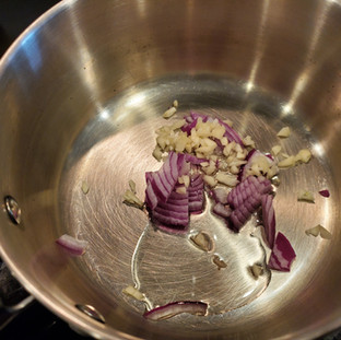 Add onions, garlic and oil to a small sauce pan.