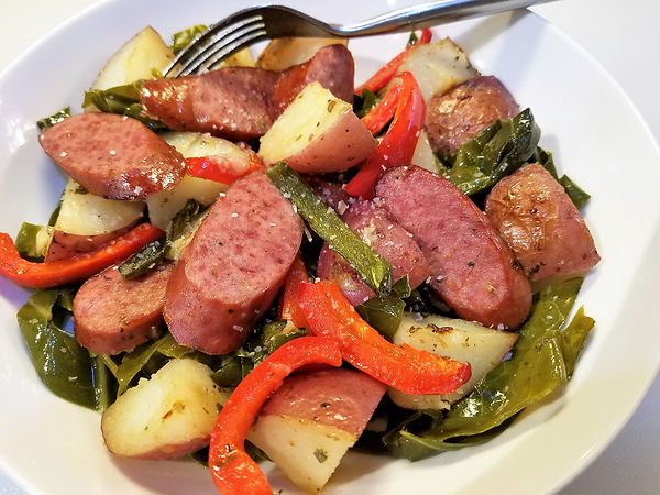 Collard Green Ribbons with Sausage