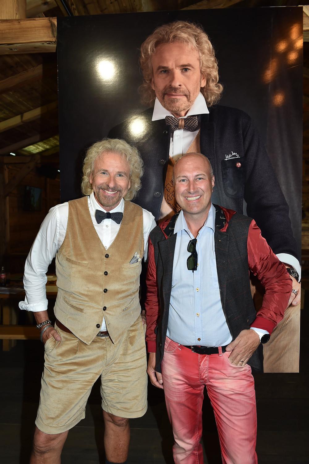 Thomas Gottschalk für Luis Trenker bei der Präentation in Salzburg mit Kleiderarchitekten Christian Wohlmuther