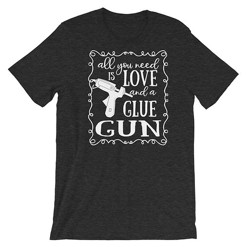 Love and a Glue Gun Shirt, Wreath Shirt, Craft Shirt, T-Shirt. Casual Tops, Plus