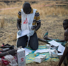 In the fight to safe lives, the MSF worker is using POLYSAFE Safety Box to collect the used syringes an needles.