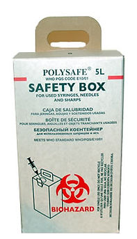 POLYSAFE 5L Safety Box and sharps container for safe and easy collection and destruction of used syringes and needles. WHO prequalified and approved. Tested against E10/SB01-VP.1