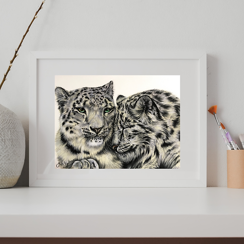 Two Snow Leopards Original Drawing