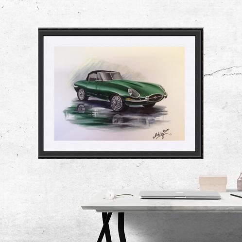 Vintage E Type Jaguar Fine Art Print