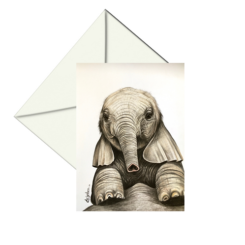 Cute Baby Elephant Fine Art Card Blank