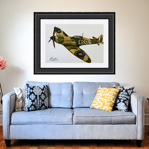 Spitfire Military Aircraft Drawing Fine Art Print