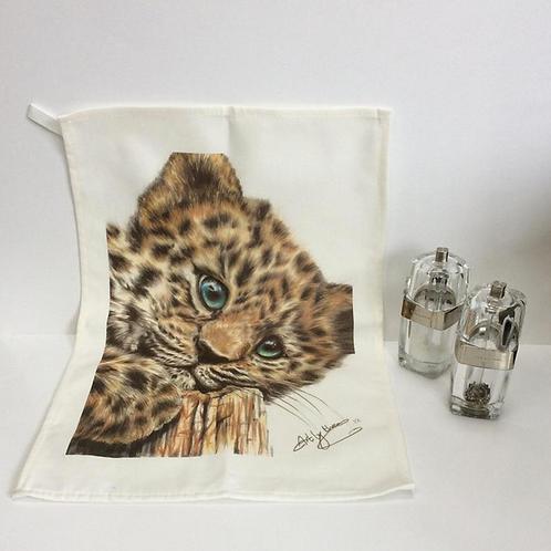 Cute Jaguar Cub Tea Towel