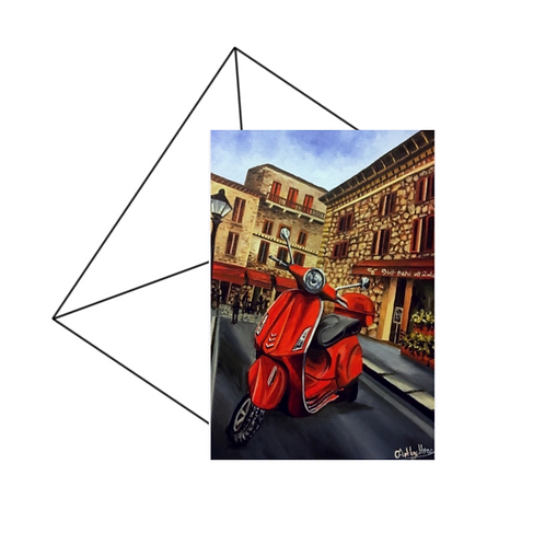 Red Piaggio Vespa Fine Art Card
