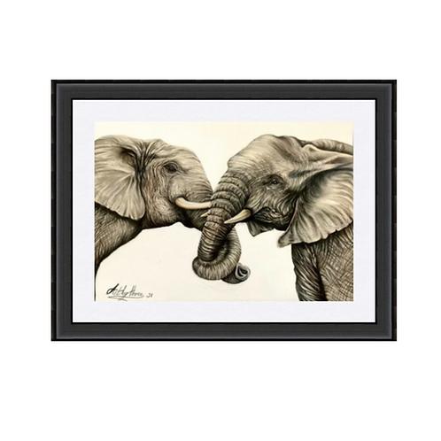 Two Elephants Original Drawing