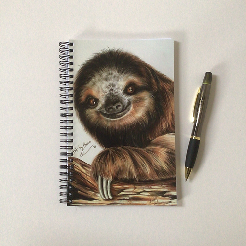 Smiling Sloth A5 Lined Notebook