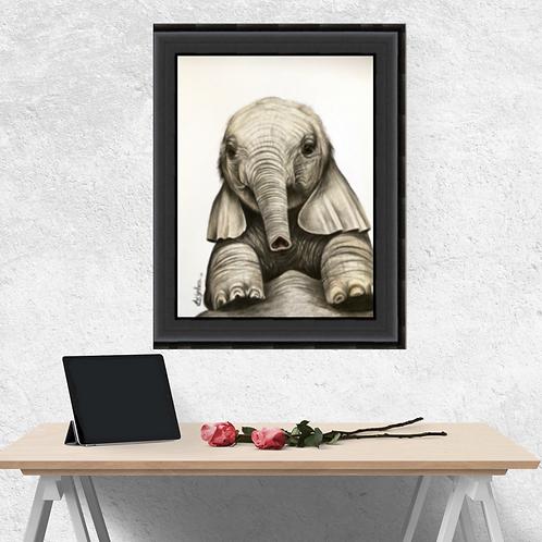 Baby Elephant Original Drawing