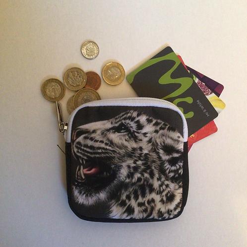 Snow Leopard Square Coin Purse/Accessory Pouch