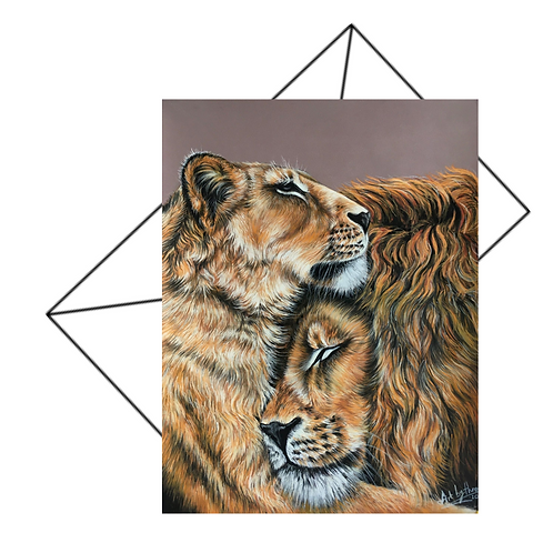 Two Lion Greeting Card Blank