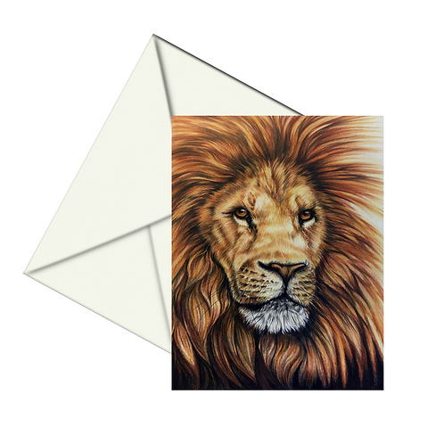 Male Lion Art Card, Wildlife Art Card