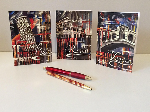 Italian Iconic Cities Abstract Art Cards