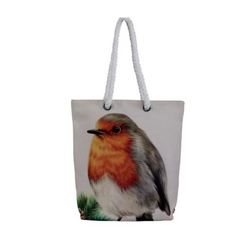 Robin Redbreast Rope Tote Bag
