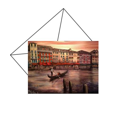 Venice At Sunset Card Blank
