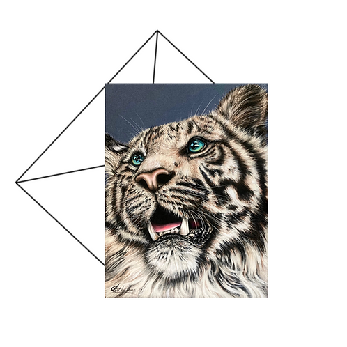 White Tiger Card, Wildlife Art Card