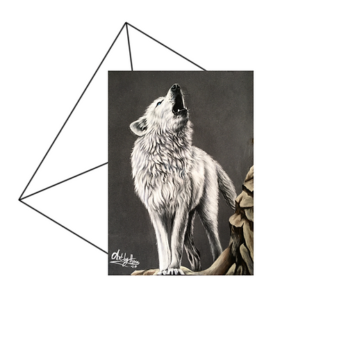 Howling Arctic Wolf Art Card Blank