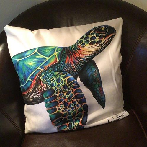Sea Turtle Illustrated Faux Suede Cushion