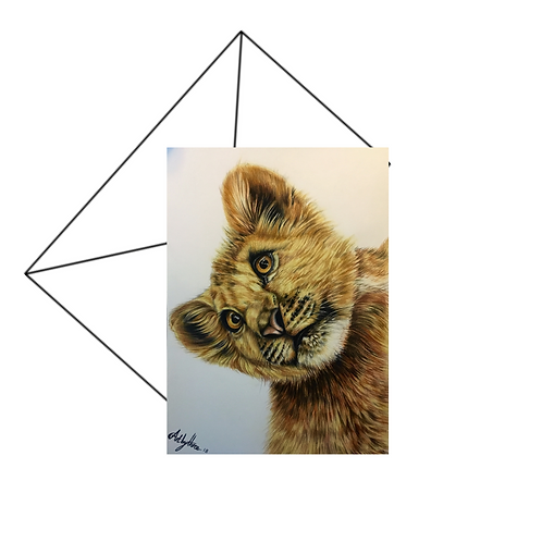 Lion Cub Card, Wildlife Art Card
