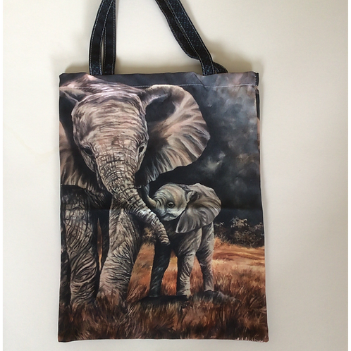 Elephant Mum and Baby Tote Bag