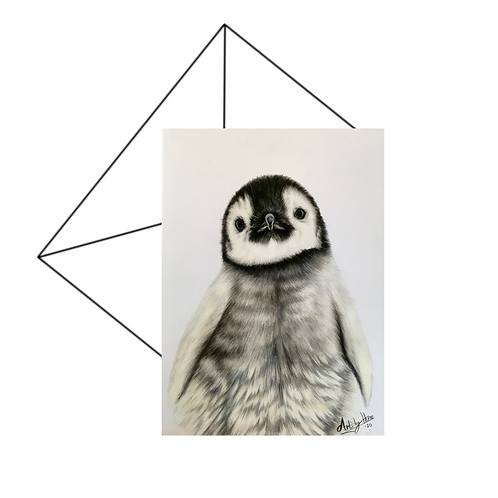 Cute Penguin Chick Fine Art Card Blank