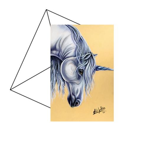 White Unicorn Greeting Card Blank