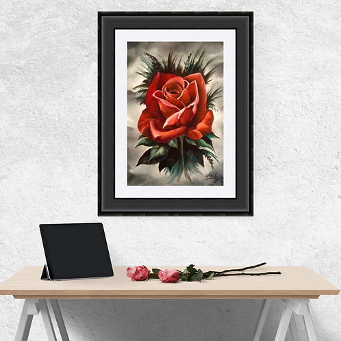 Gothic Style Red Rose Fine Art Print