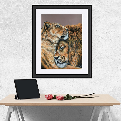 Two Lions Drawing Fine Art Print
