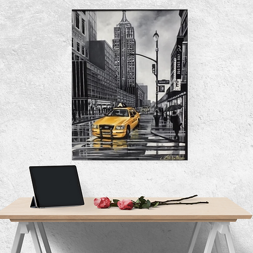 New York City Yellow Cab Original Oil Painting