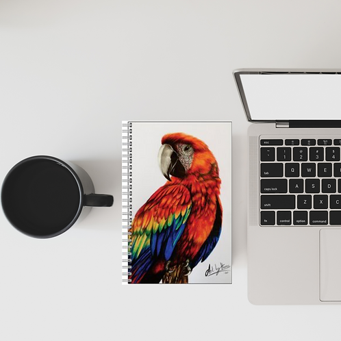 Red Macaw Parrot Lined Notebook
