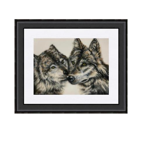 Two Wolves Kissing  Original Drawing
