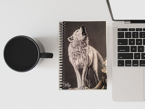 Howling Arctic Wolf A5 Lined Notebook