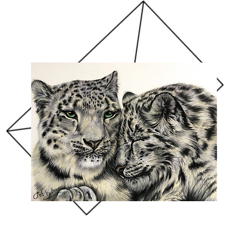 Two Snow Leopards Snuggling Card