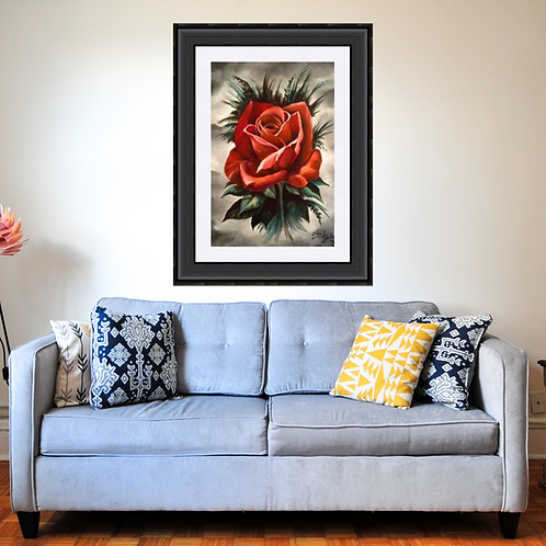 Gothic Red Rose Oil Painting