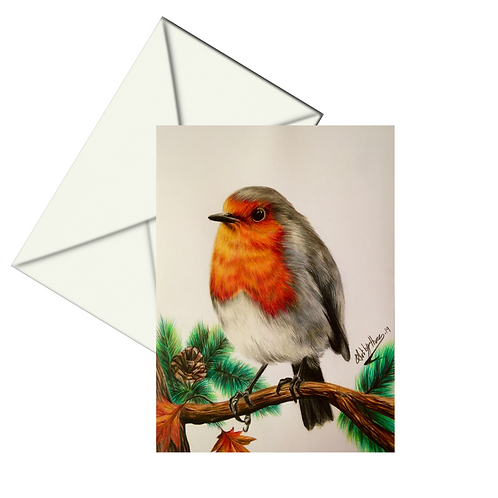 Robin Redbreast Card, Christmas Card