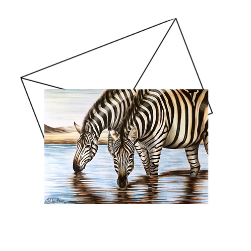 Zebras Card, Wildlife Art Card