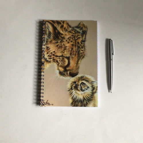 Cheetah Mother And Cub A5 Lined Notebook