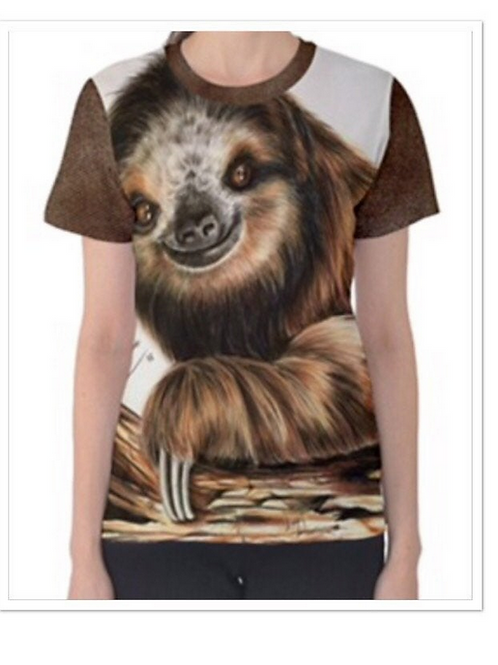 LADIES  Full Print Sloth T Shirt Large