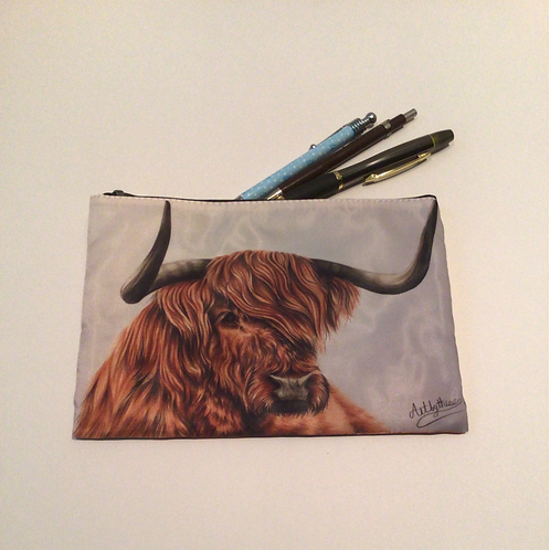 Highland Cow Pencil Case/ Cosmetic Bag